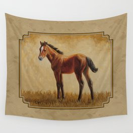 Bay Quarter Horse Foal Wall Tapestry