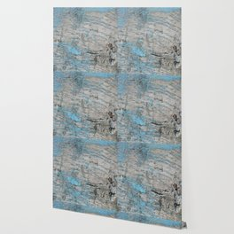 Peeled Blue Paint on Wood rustic decor Wallpaper