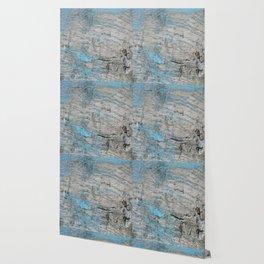Peeled Blue Paint on Wood rustic decor Wallpaper