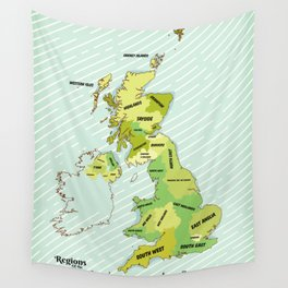 Regions of the United Kingdom Colour version. Wall Tapestry