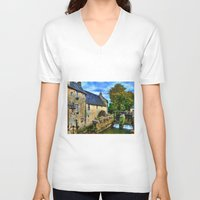 postcard V-neck T-shirts featuring French Postcard by Exquisite Photography by Lanis Rossi