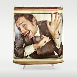Man trapped in TV Shower Curtain