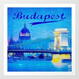 Budapest, light blue Art Print