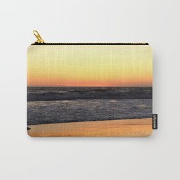 Lone Bird Tiptoes on the Reflecting Beach at Sunset Carry-All Pouch