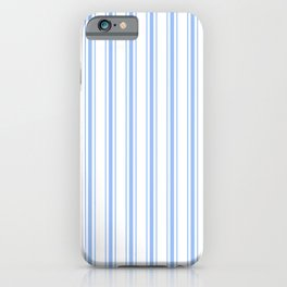 Mattress Ticking Wide Striped Pattern in Pale Blue and White iPhone Case