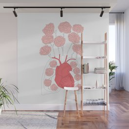 Lungs and heart floral anatomy Wall Mural