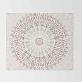 Cream Rose Mandala Throw Blanket