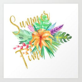 Tropical leaves and flowers summer time gold brush script Art Print