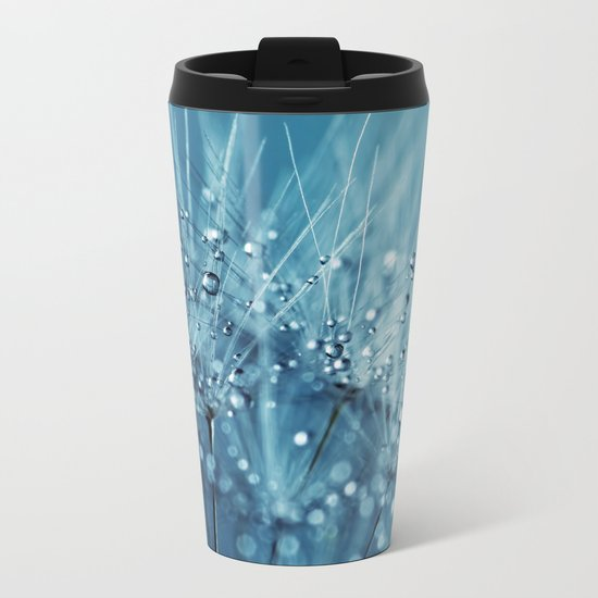 Drops sparkling on a Dandelion- Abstract blue close-up Metal Travel Mug