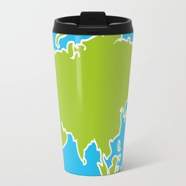 Eurasia map green continent  on blue background Travel Mug