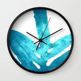 Ocean Blue Fern Wall Clock