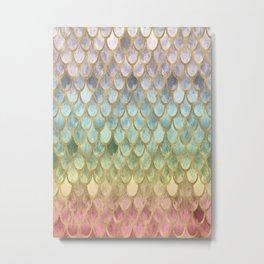 Rainbow Marble Mermaid Scales Metal Print