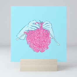 Knitting a brain Mini Art Print