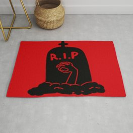 Zombie Exiting Grave (Silhouette) Rug