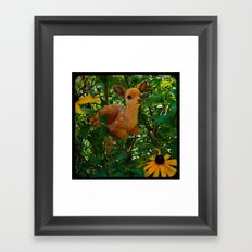 Deer and Black-eyed Susans Framed Art Print