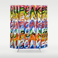 cupcakes Shower Curtains featuring CUPCAKES by Claudia McBain