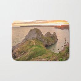 Three Cliffs Bay Beach Gower Sunset Bath Mat