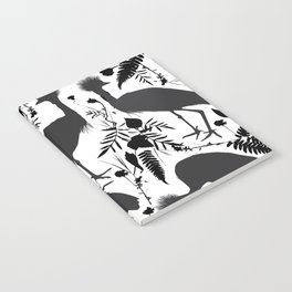 Black crowned crane with grass and flowers black silhouette Notebook