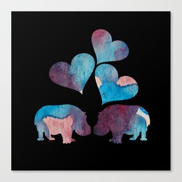 Hippo Art Canvas Print
