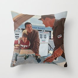 Under the Hood  - Vintage collage Throw Pillow