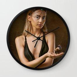 Girl with a Bird Wall Clock