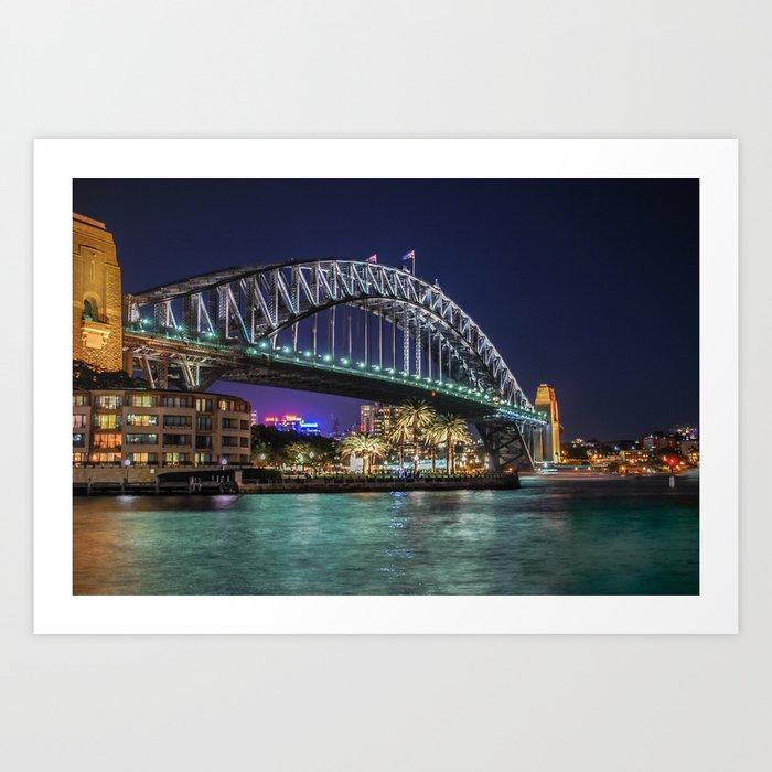 Sydney Harbor Bridge at Night Art Print