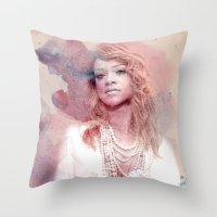 rihanna Throw Pillows featuring Rihanna by Kanelko