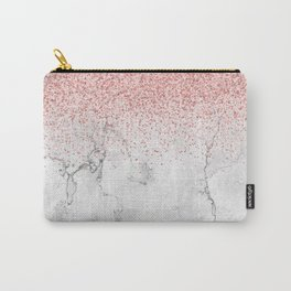Rose Gold Glitter and white marmble Carry-All Pouch