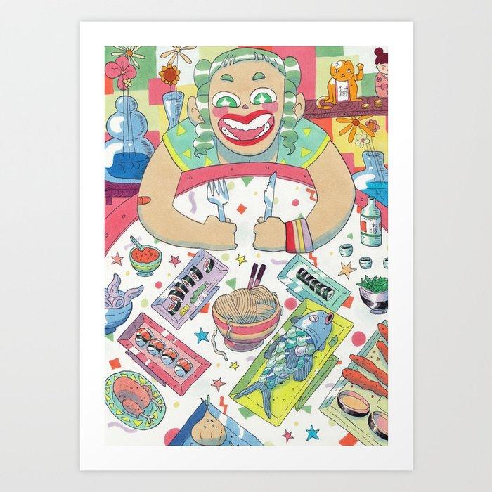 Hungry girl Art Print