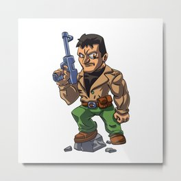 Veteran military cartoon illustration Metal Print
