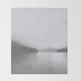 Foggy Lake | Landscape Photography | B&W Art Prints | Misty Forest | Nature | Smokey Mountains Throw Blanket