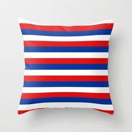 blue white red stripes Throw Pillow