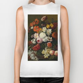 "Philip van Kouwenbergh ""Still life of flowers with roses, peonies, hollyhock, tulips, grapes..."" Biker Tank"