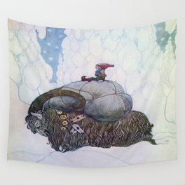 Jullbocken The Yule Goat Being Ridden By A Child  Wall Tapestry