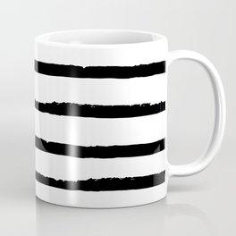 Hand Drawn Ink Horizontal Lines – Black and White Coffee Mug