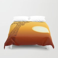 Giraffe and sun Duvet Cover