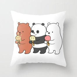 Baby Bears Eating Some Ice Cream Throw Pillow