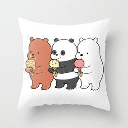 Baby Bears Eating Some Ice Cream Throw Pillow