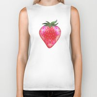 strawberry Biker Tanks featuring Strawberry by Ornaart