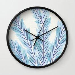 Blue Juniper Branches Botanical Wall Clock