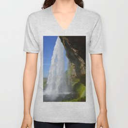 Iceland Waterfall Cascade Landscape Unisex V-Neck