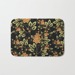 Bright floral pattern on a black background. Bath Mat
