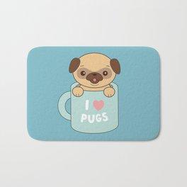 Kawaii Cute I Love Pugs Bath Mat