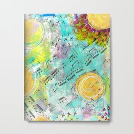 Mixed Media Music and Flowers Metal Print