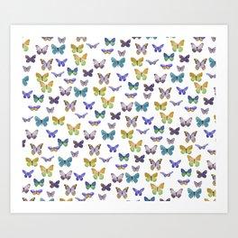 Butterfly Pattern in blue, green & yellow Art Print