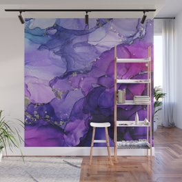 Violet Storm - Abstract Ink Wall Mural
