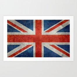 "UK British Union Jack flag ""Bright"" retro Art Print"