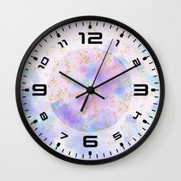 Lavender teal swirls gold Wall Clock