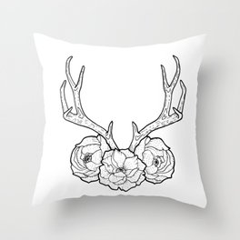 Deer vs Flowers Throw Pillow