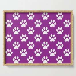 Purple and white paws pattern Serving Tray
